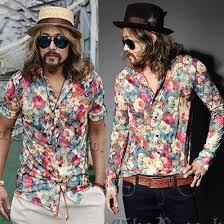 Plus Size Summer Long Sleeve Shirt Singer Slim Retro Fashion Mens