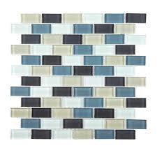 Jeffrey Court Mosaic Tile by Jeffrey Court Shoreline Brick 12 In X 12 In X 8 Mm Glass Mosaic