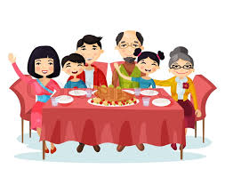 Holiday Dinner With Turkey Of Cartoon Family Kids Or Children