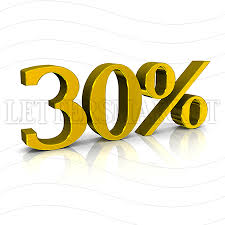 LettersMarket 3D Gold Discount Percent 30 isolated on a white