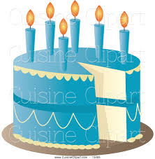 Cuisine Clipart of a Blue Birthday Cake with Candles and a Missing Slice