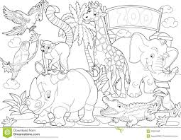 Zoo Coloring Page Scene Pages Animals