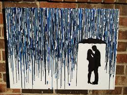 Cool Art Projects Melted Umbrella Crayon With Silhouette White Canvas The Only Has Drippings Black For Figure Of A
