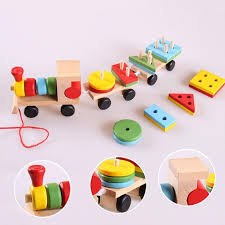 wholesale small wooden train toys dragging three carriage