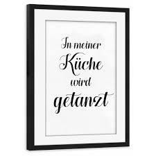 in meiner küche wird getanzt poster mit 30x20 cm rahmen schwarz