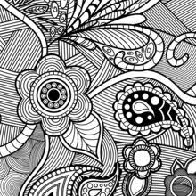 Sophisticated Adult Picture Flowers Paisley Design Coloring Page