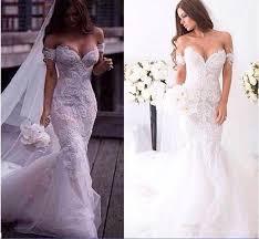 2016 Gorgeous Arabic Spring Lace Mermaid Wedding Dresses Ivory f