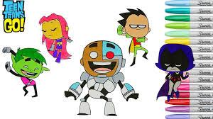 Teen Titans Go Coloring Book Pages Robin Starfire Cyborg Raven Beast Boy Rainbow Splash