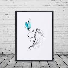 Girl With Butterfly Pencil Sketch Watercolor Painting Sweet Home Poster Wall Art Decor Room Hanging Pictures Gift E327 In Calligraphy