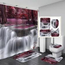 wald wasserfall bad duschvorhang wasserdicht bad vorhang sets wc sitzbezug matte rutschfeste bad teppich badezimmer dekor vova