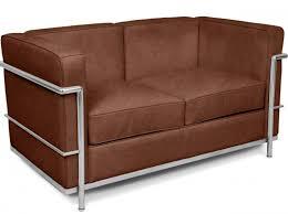 canape le corbusier canapé 2 places cuir marron vintage inspiré lc2 le corbusier