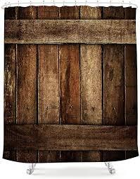 lightinhome braune scheunentür duschvorhang altes holzbrett brett holz rustikal vintage retro bauernhaus stoff wasserdicht badezimmer
