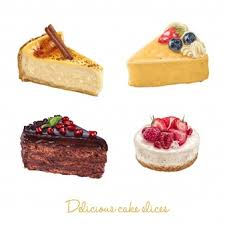 Hand drawn delicious cake slices