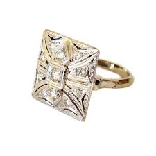 deco square rings 1940 s deco square top 14k and ring from cometiques on