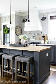 Dark Gray Island In Kitchen