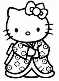 Printable Colouring Sheet With Hello Kitty Color In One Of Her Less Common Outfits An Oriental Styled Kimono Dress