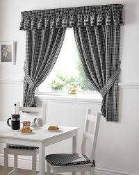 Amazon Swag Kitchen Curtains by Amazon Com Gingham Check Black White Kitchen Curtains Drapes W46