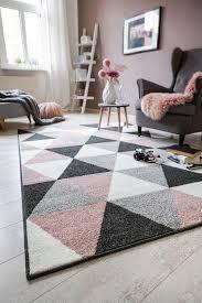 kurzfloreppich 80 x 150 cm teppich kurzflor grau rosa muster geometrisch modern wohnzimmer schlafzimmer