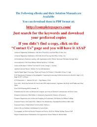 The Following EBooks And Their Solution Manuals Are Available You Can Download Them In PDF Format