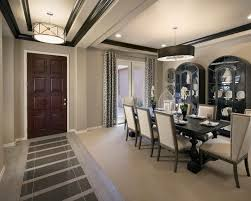Entryway Molding Dining Room Contemporary With Floor Treatment Incandescent Pendant Lights On