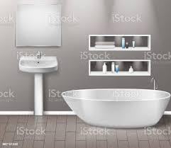 realistisches badezimmer möbel interieur mit modernen badezimmer waschbecken spiegel regale badewanne und dekor elemente auf graue wand mit holzboden