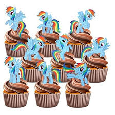 12 My Little Pony Rainbow Dash Edible Cup Cake Toppers Birthday Decorations
