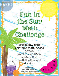 Fun In The Sun Board Games Are Math For Kindergarten First Grade