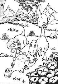 Baby Dinosaurs Stegosaurus Tyrannosaurus Coloring Page