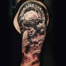 Cool Mens Half Sleeve Tattoo Of Jesus Christ
