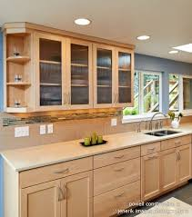 Natural Maple Cabinets With Caeserstone Desert Limestone Counters Under Cabinet Light Bars