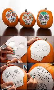 Sugar Skull Pumpkin Carving Patterns by 30 No Carve Pumpkin Decoration Ideas U0026 Tutorials Listing More