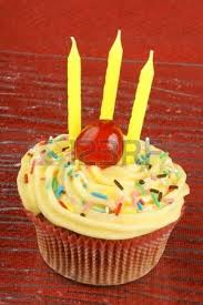 Birthday Cupcake With Lemon Buttercream Sprinkles Can d Cherry Stock Picture And Royalty Free Image Image