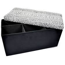 Snow Leopard Microfiber Sit & Store Collapsible Ottoman Storage