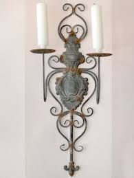 vintage candle wall sconce wood look metal with mirror shabby