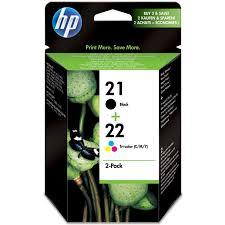 Original HP 21 22 Black Colour Combo Pack Ink Cartridges SD367AE201