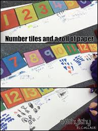 number tiles and a roll of paper teaching kindergarten