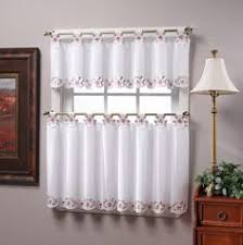 Amazon Rooster Kitchen Curtains by Brown And Gold Embroidered Kitchen Window Curtain Set 2 Tier