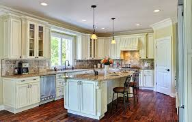 Antique Looking Kitchen Cabinets Country Style White With Brown Granite And Dark Parquet
