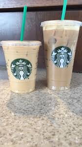 Left Grande Vanilla Iced Coffee With Cream Right Venti Dirty