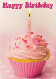 Happy Birthday Pink Cupcake With Candle Blank Greeting Card Amazon Kitchen & Home