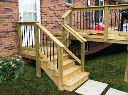 acq pressure treat pine wood deck steps with deckorators railing