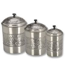 Kitchen Canister Set Embossed Pewter Set of 3 in Kitchen Canisters