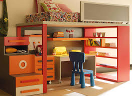 Bedroom Captivating Cool Kids Ideas With Red Combined Cream Wooden Loft Beds Be Equipped Bookshelf And Orange Storage Stair Also