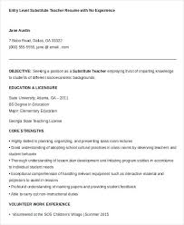 Subsitute Teacher Resume Substitute Examples From Sample Free Word Documents Download