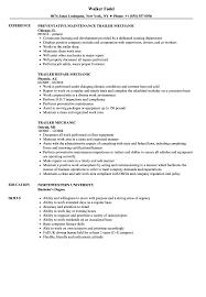 Download Trailer Mechanic Resume Sample As Image File