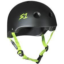 one helmet lifer l black matte green straps aus nz certified