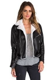 laer classic leather moto jacket with shearling in black u0026 cream