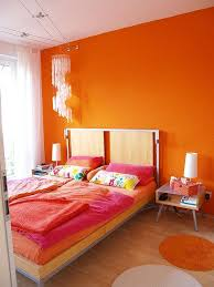 30 Amazing Ripe Orange Room Designs With Bedroom Wall And Modern Nightstand Chandelier Deco