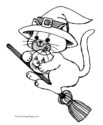 Halloween Coloring Pages With Cats Cat On Broom