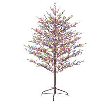 GE 5 Ft Pre Lit Winterberry Brown Artificial Christmas Tree With 200 Count Multicolor LED Lights